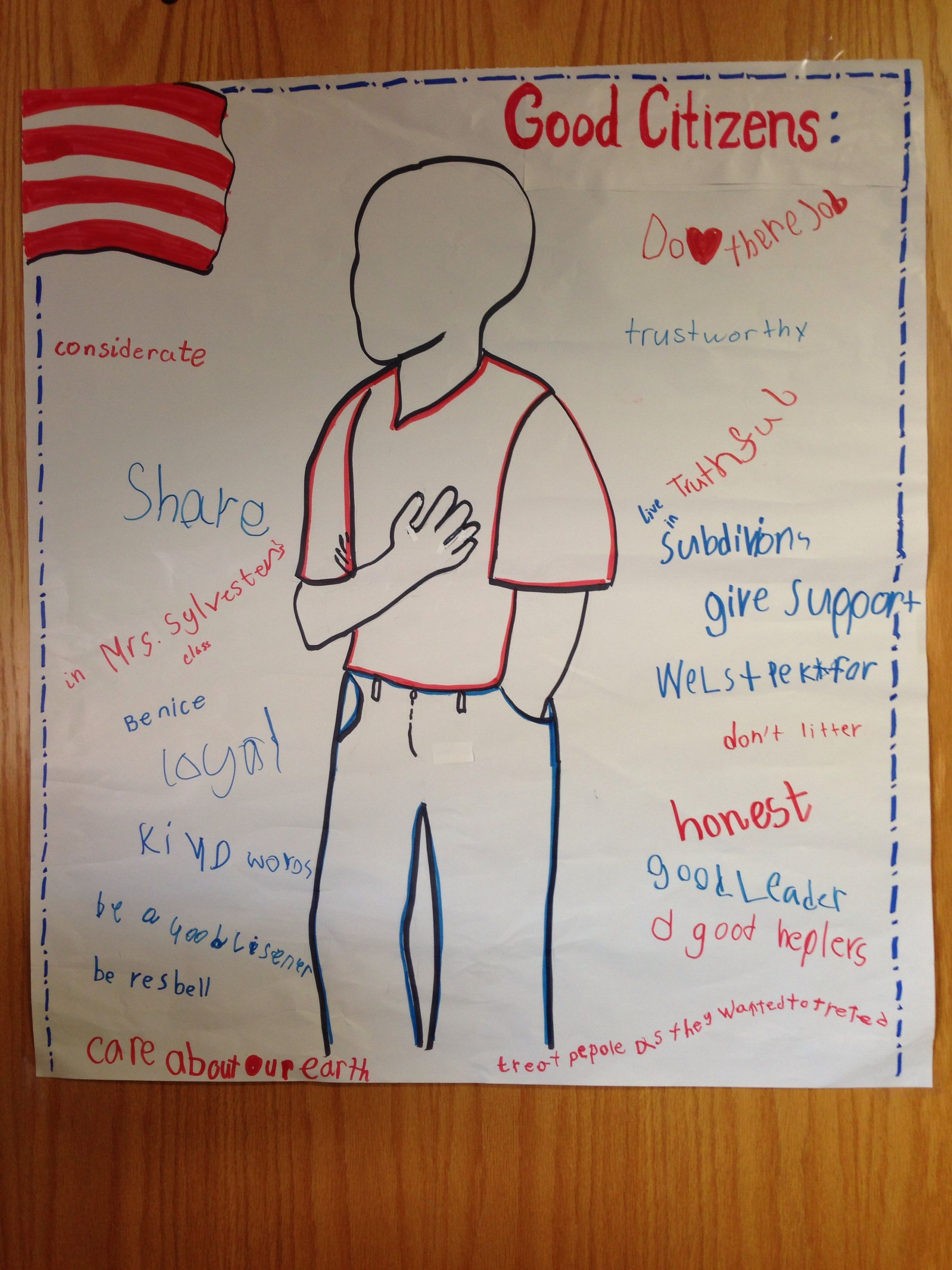 small resolution of Traits of a good citizen defined by 2nd graders.   3rd grade social  studies