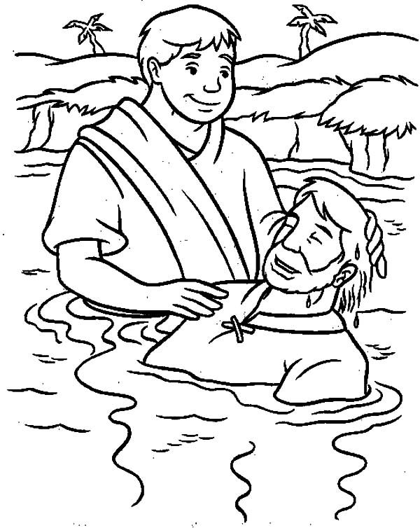 Gospel Of Matthew Baptism Of Jesus Coloring Pages in 2020