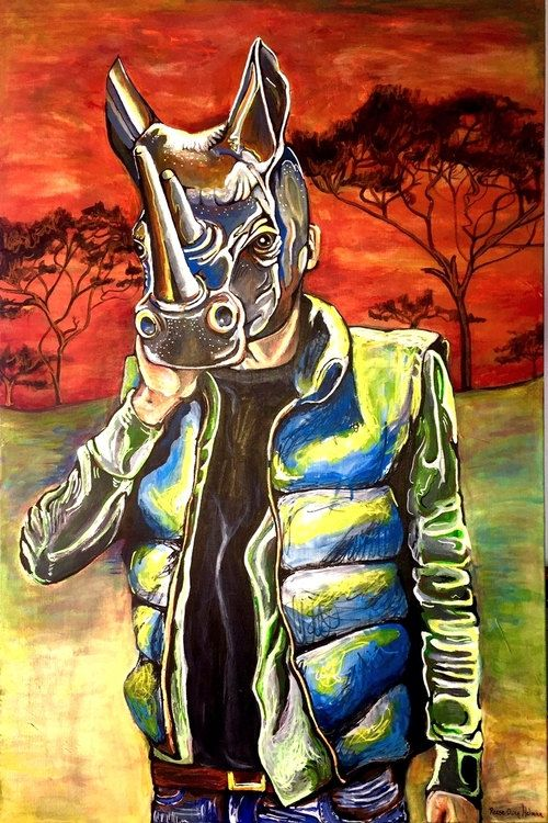 Man in Rhino Mask at sunset with Acacia trees in the background. Large Acrylic Painting, Canvas, Rhinoceros, Pop Surrealism, 3' X 2', Acacia Trees at Sunset. This is part two in my Mask series. Juxtaposition of oranges and blues make this piece striking. This painting is somewhat whimsical yet also has a serious side. Man wearing a reproduced Rhino Mask represents all we will have left of the glorious Rhinocerous if we do not quell Human greed and slaughter of Rhinos for their horns.