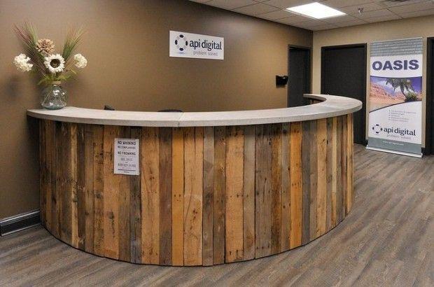 Rustic Round Reception Desk Google Search