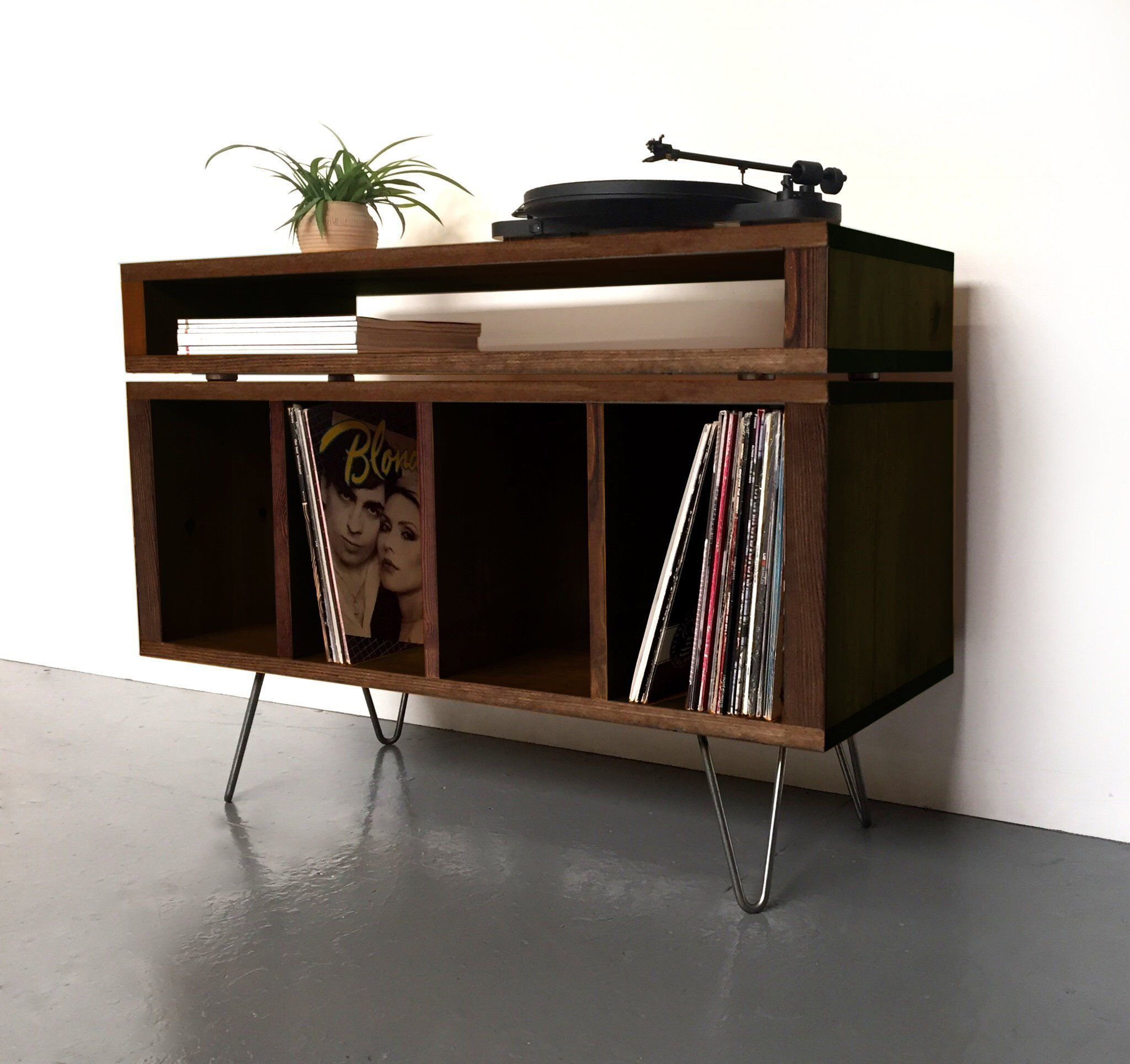 Solid Wood Vinyl Storage Cabinet Or Media Console Record Player Stand In Stock Solid Wood Constru Vinyl Storage Vinyl Record Furniture Vinyl Record Storage
