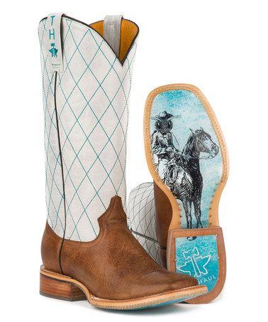 Look at this #zulilyfind! Brown Zap Trap Leather Cowboy Boot - Women #zulilyfinds