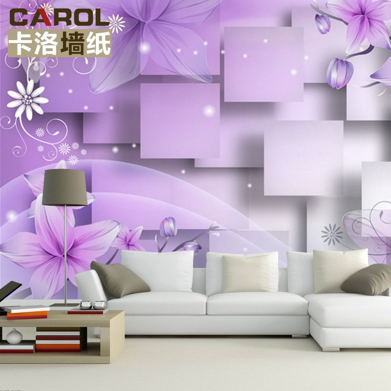 Purple living room wall murals 3d wallpaper purple for Purple living room wallpaper