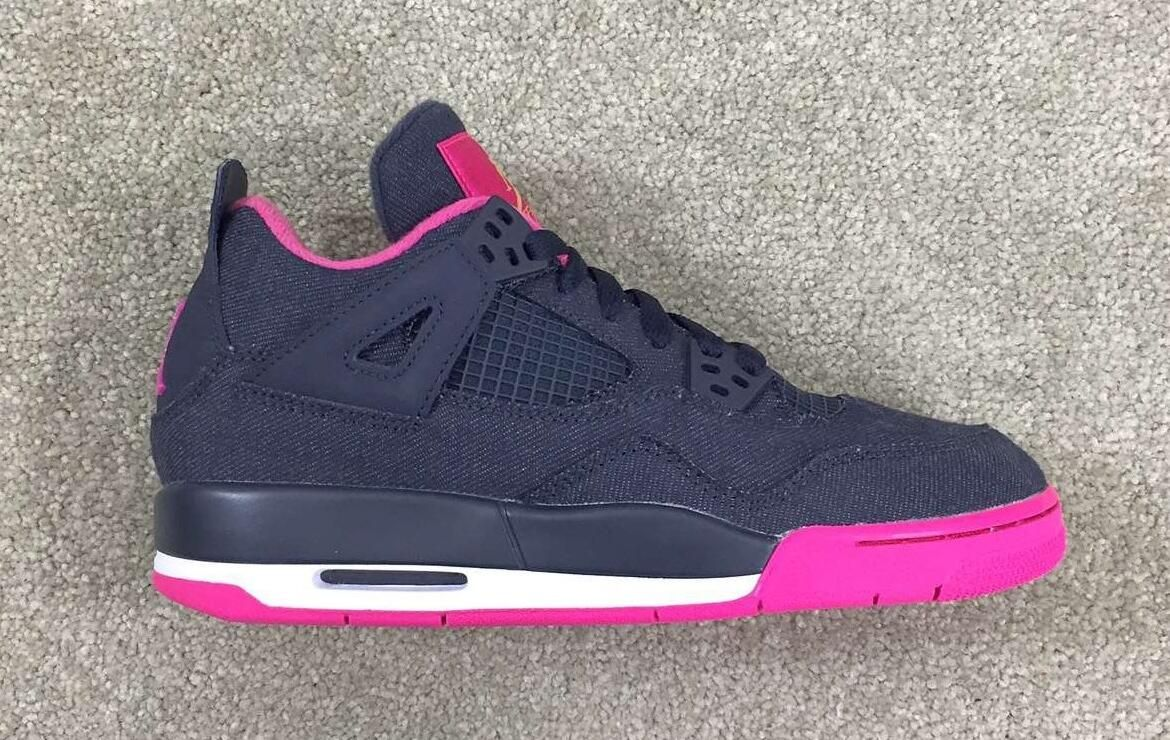 Air Jordan 4 GS Denim Black Vivid Pink  26c0f9afb
