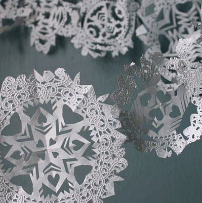 How To Make Hang Christmas Tree Garland Paper Doilies Snow