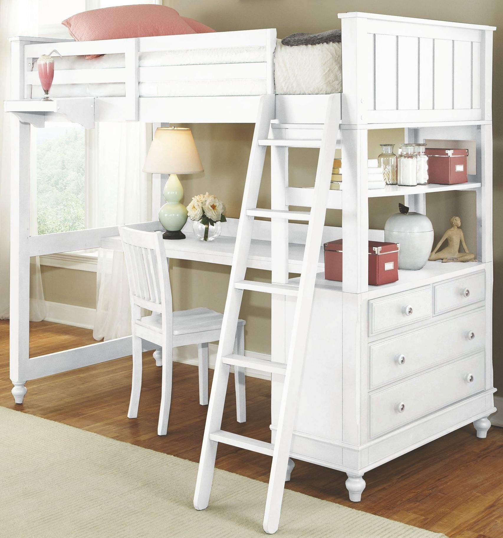Lake House White Twin Loft Bed with Desk Twin size loft
