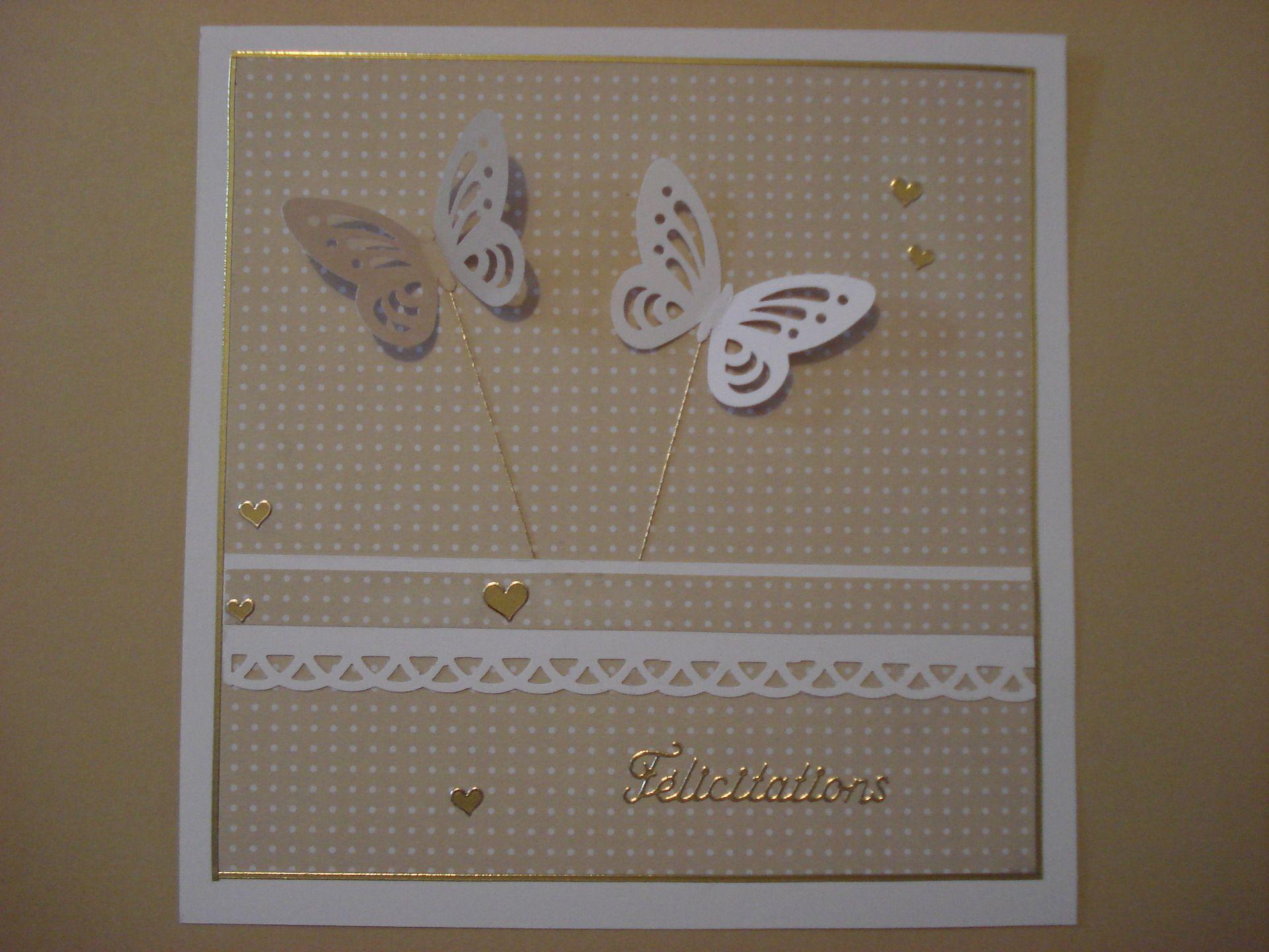 Carte de Félicitations naissance ou mariage, thème papillons, beige : Cartes par filsetcouleurs