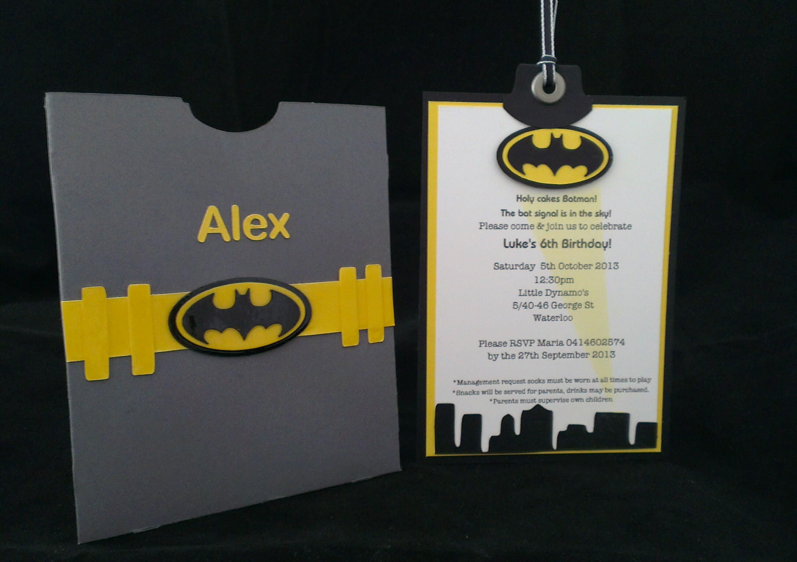 Batman themed invitation www.pepperlyroseinvitations.com.au