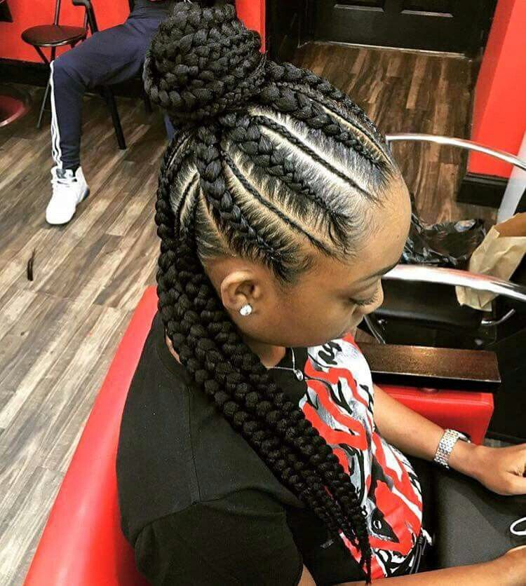 Half Up Half Down Feeder Braids Feed In Braids Hairstyles Natural Hair Styles Cornrow Hairstyles