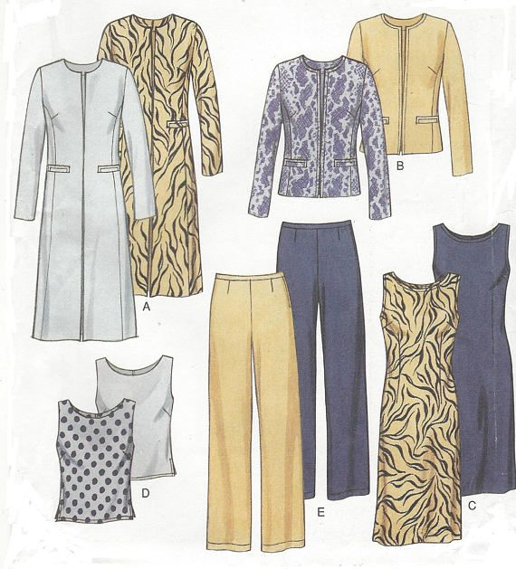 90s Womens Lined Jacket or Duster, Top or Shift Dress & Pants New ...