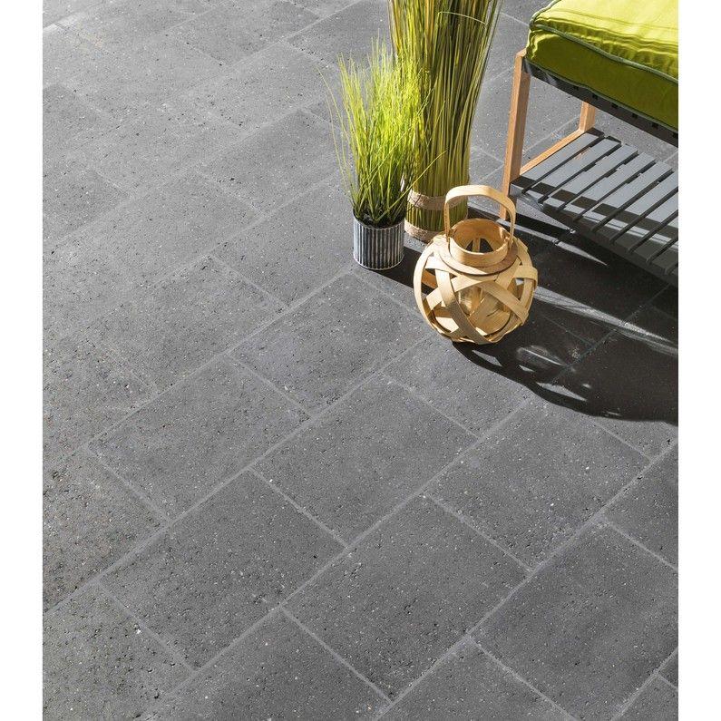 Pavé Béton Ineo Noir Basalt L30 Cm X L225 Cm X Ep6 Mm