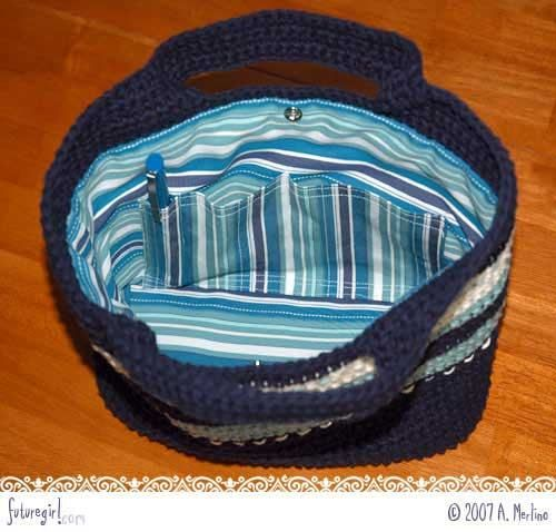 Blue stripes crochet bag detail