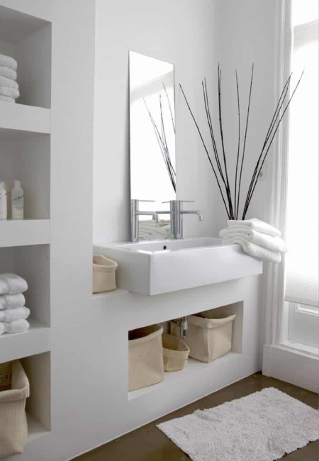 White Spa Bathroom With Rectangular Sink And Chrome Faucets | Living ...