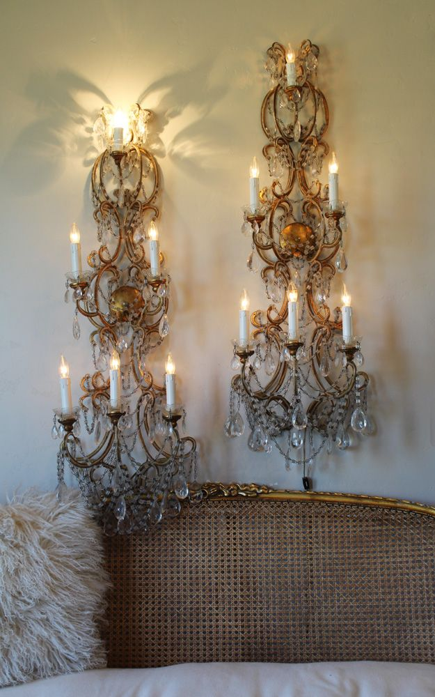 Rare antique pair italian macaroni beaded wall sconces 4 footers antique french chandeliers wall sconces european lighting home decor aloadofball Choice Image