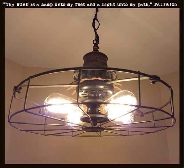 Light Chandelier Vintage Fan Cage Pendant Ceiling Lighting Fixture Edison Bulb One Of