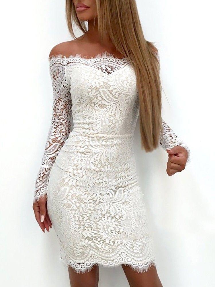 Splicing Lace Applique Off Shoulder Bodycon Dress (S/M/L/XL) $20.99