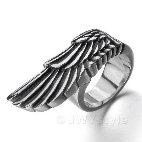 Stainless Steel Ring Band Men Biker Punk Silver Wing US39479   eBay $9.99