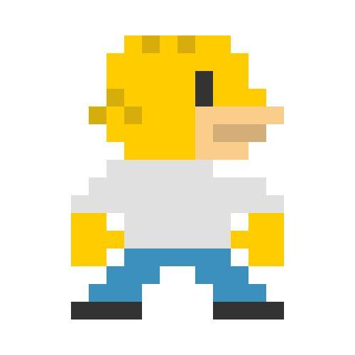 Pixelated Cartoon Characters Homer Simpson Pixel Art
