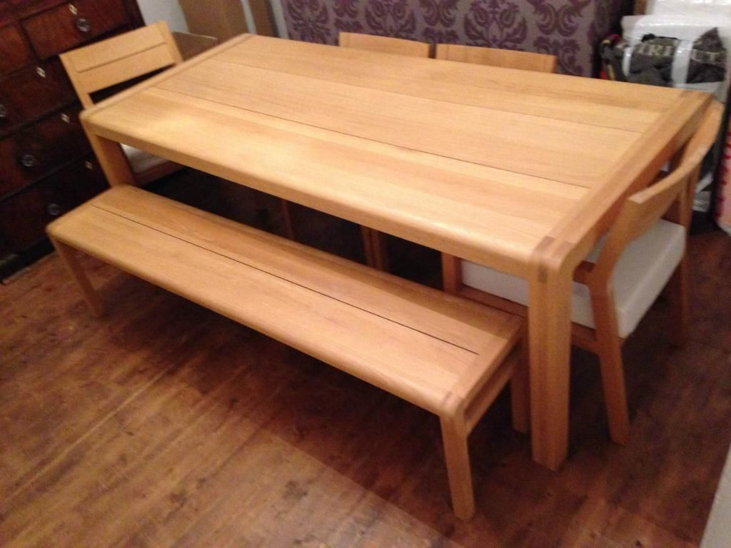 Habitat Radius Large Oak Dining Table Bench And Chairs Probably