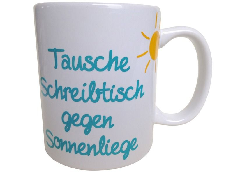 kaffeebecher spruch tasse tausche schreibtisch von unique stuff via cool paintings. Black Bedroom Furniture Sets. Home Design Ideas