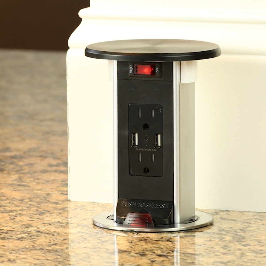 Pop Up 15a Usb Outlet Wireless Qi Charging Through Countertop Black Usb Outlet How To Install Countertops Countertops