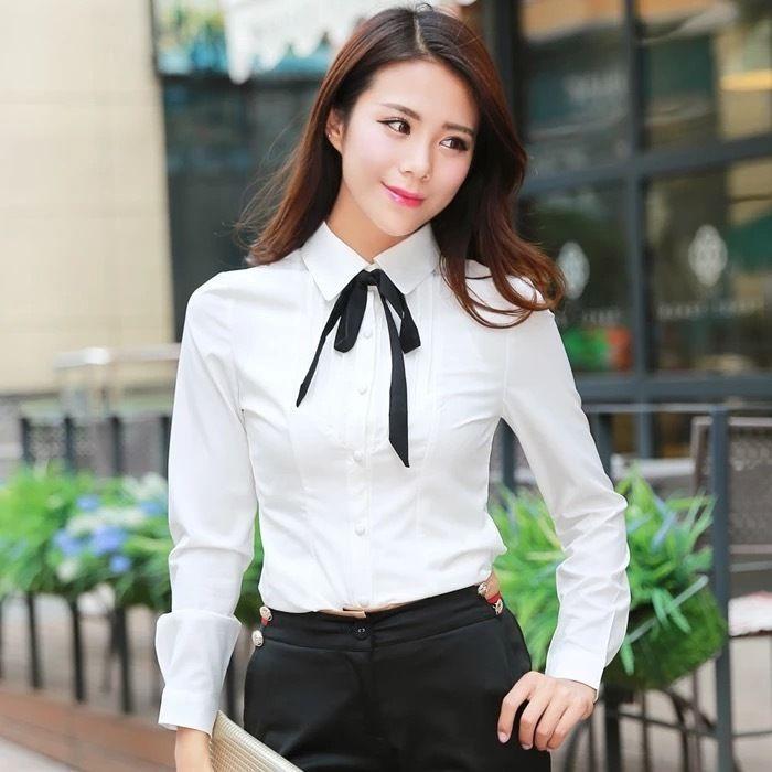 White Women Bodysuit Blouse With Black Bow-Tie Long Sleeve Ol Slim Shirt Top c27c443c8