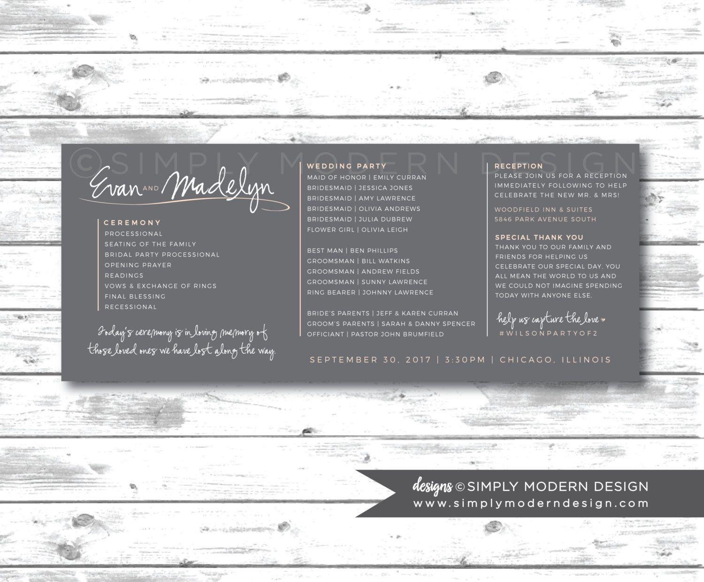 Unique wedding ceremony program, ceremony program, order