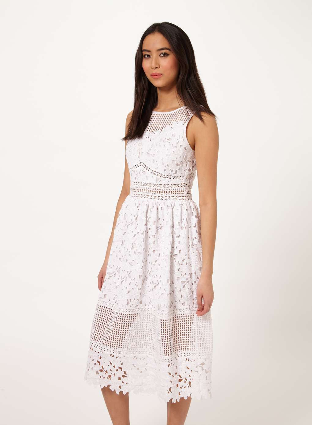 White Mixed Lace Midi - View All - Clothing