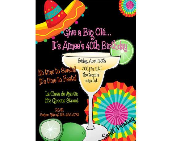 Fiesta Birthday Party Margarita Party Invitation By