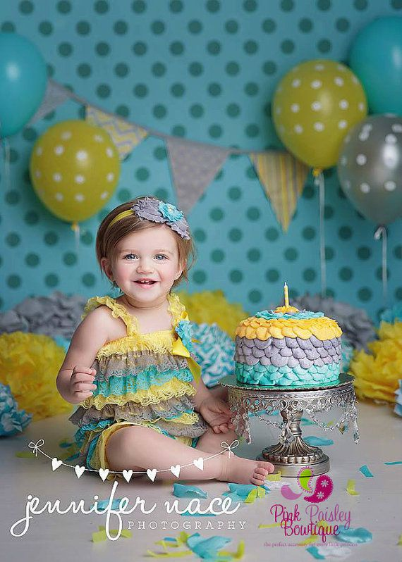 b3493e7acd1e Baby Girl 1st Birthday Outfit - Ready to SHIP - Yellow Dress - Ruffle Romper  -Baby Girl Rompers - Cake Smash Outfit - You are my sunshine Birthday -  Aqua ...