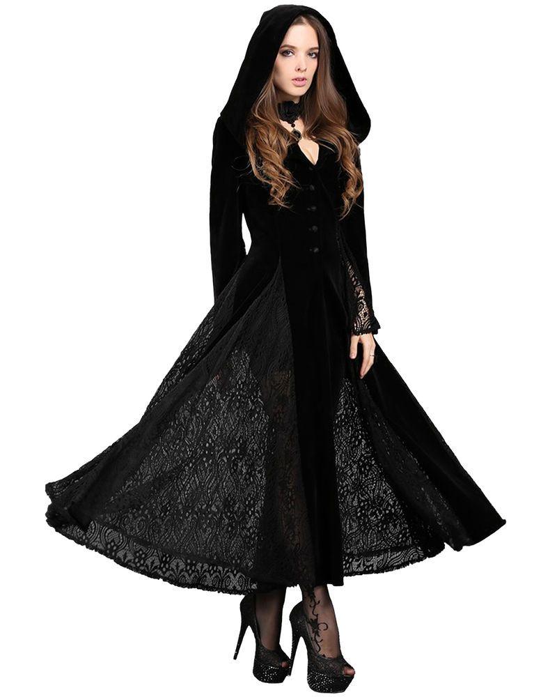 Dark in love gothic hooded jacket long cloak black velvet gown witch