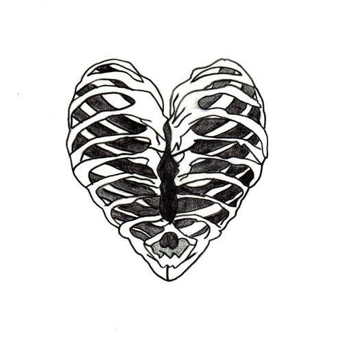 Rib Cage Heart Heart Sketch Twenty One Pilots Tattoos