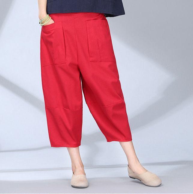 Casual Vintage Cotton Linen Pants Elastic High Waist Wide Leg