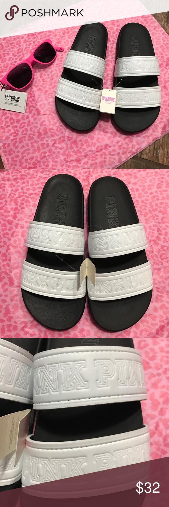 BNWT WHITE STAPPY (PINK) SLIDES (size 6-7 ⚠️ SUNGLASSES NOT INCLUDED ⚠️ These are the cutest slides, and so comfy!! I have I clp pairs, and I wear them everyday, I have different colors, but the white goes with everything! BNWTs PINK Victoria's Secret Shoes Sandals