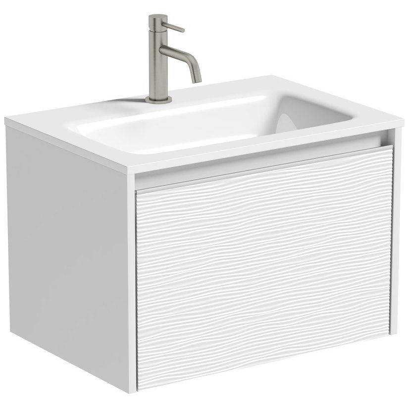 Mode Banks Textured Matte White Wall Hung Vanity Unit And Basin 600mm Wall Hung Vanity Vanity Units Wall Mounted Vanity