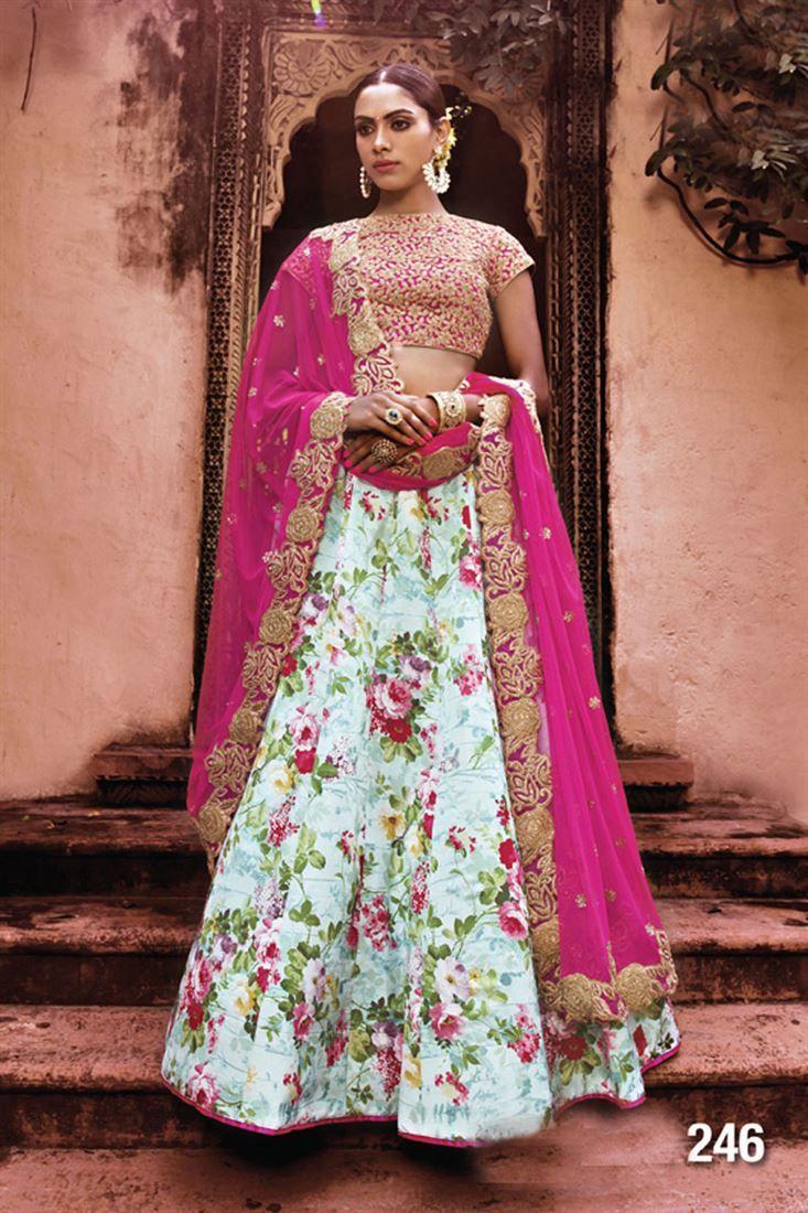 Sky Blue Color Wedding Wear Satin Embroidered Lehenga Choli ...