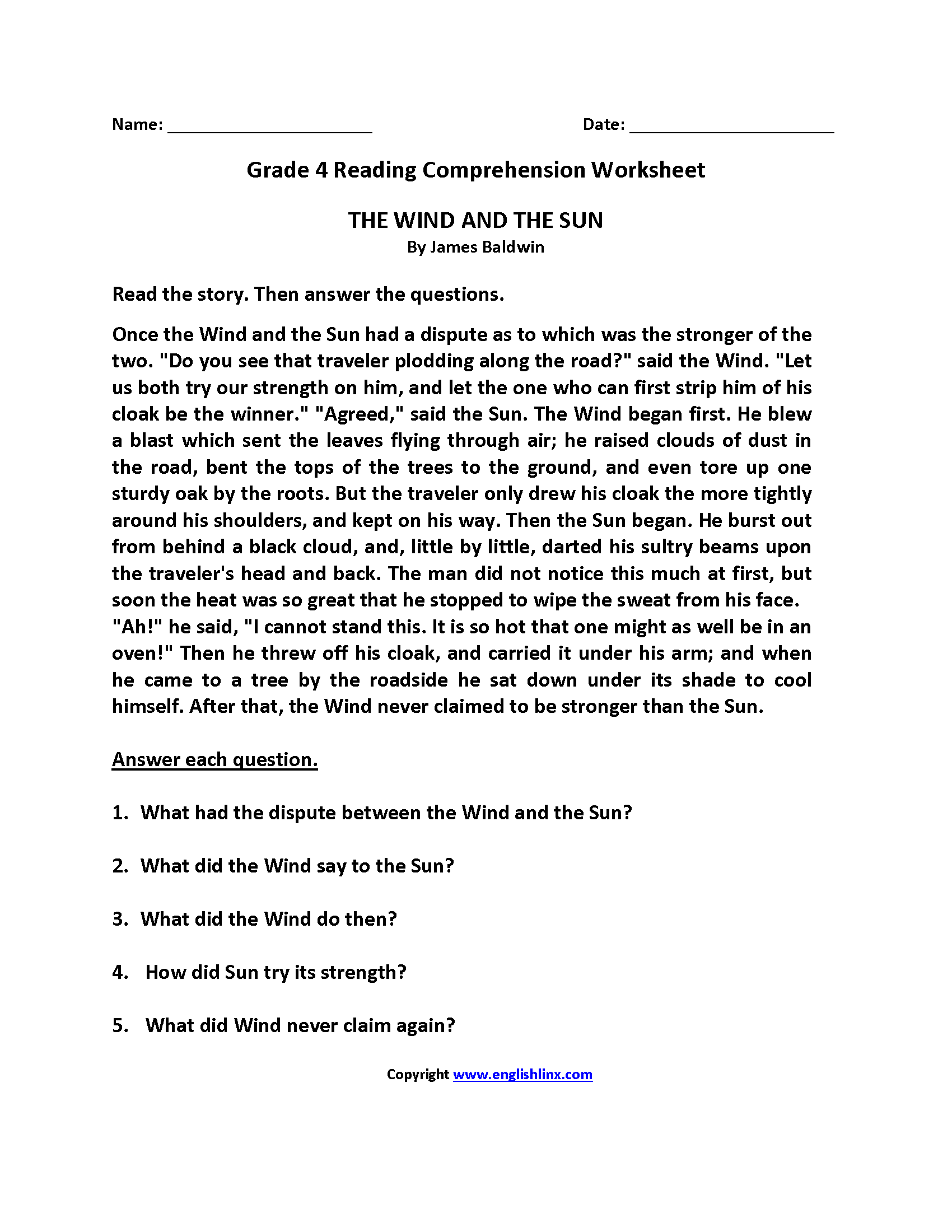 Wind And Sun Fourth Grade Reading Worksheets