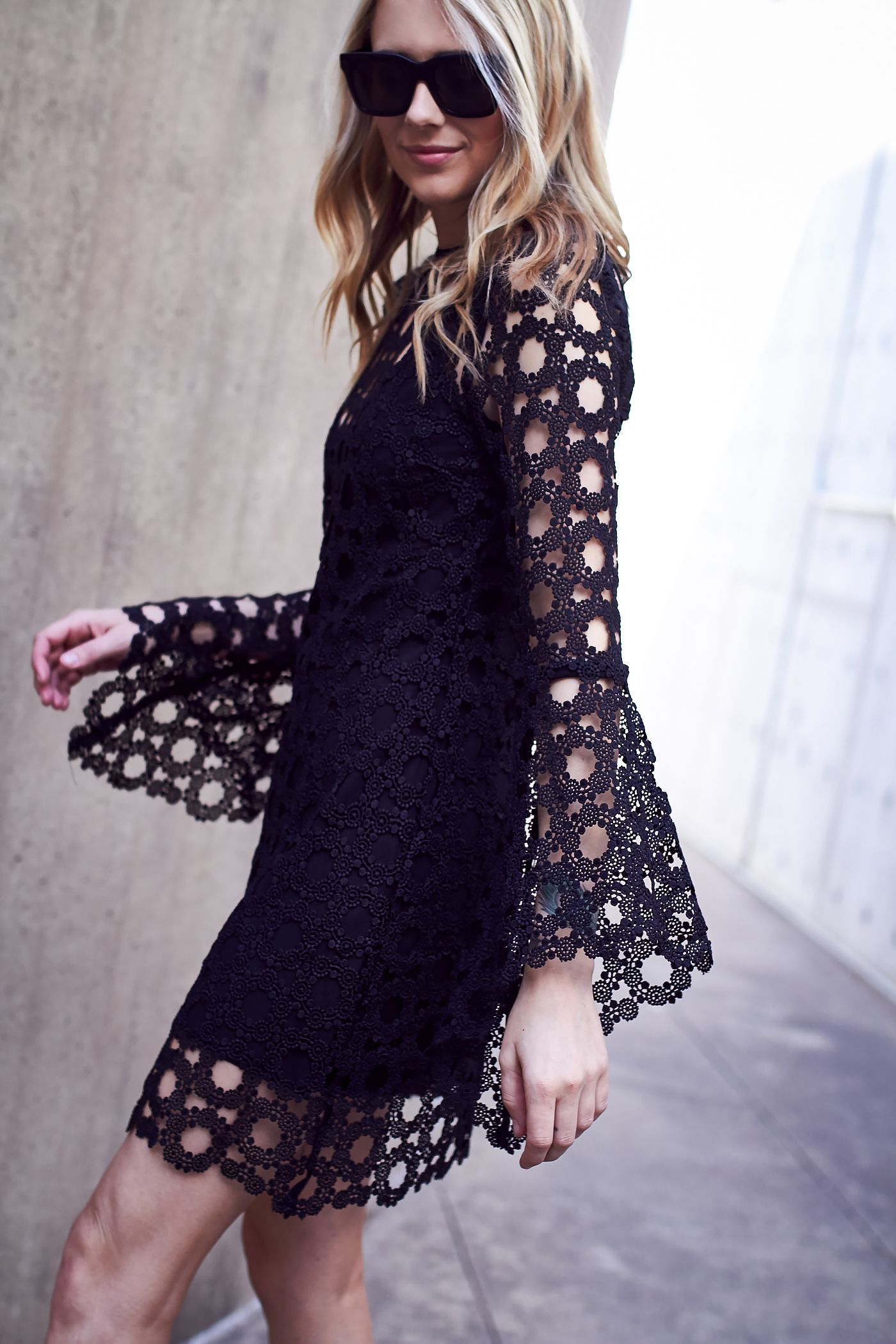 374b51693ccb N/Nicholas Lace Overlay Long Sleeve Black Mini Dress, Black Celine  Sunglasses, Christian Louboutin Pigalle Plato Black Pumps