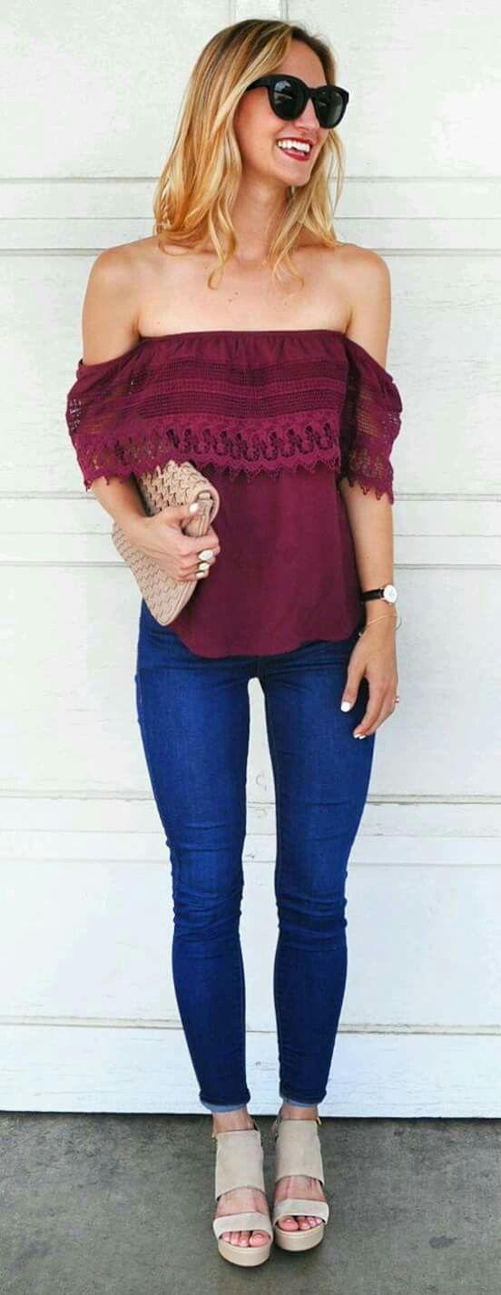 5f74e7e17b5dcf ooh so cute! Off the shoulder maroon blouse  fashion  trending ...