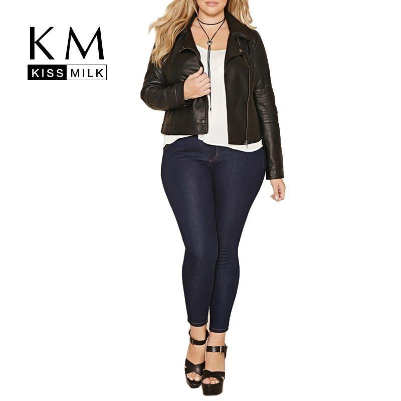 e4a89a7ffa0 Plus Size Women Solid Black Zipper Bomber Jacket Casual Ladies Long ...