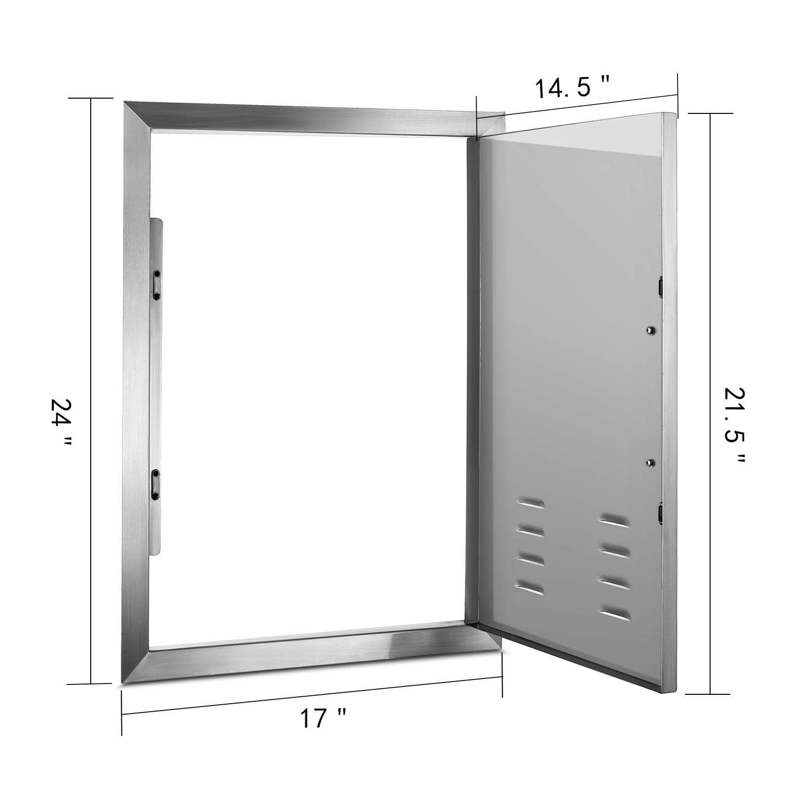 Happybuy Bbq Access Door 17 X 24 Inch Vertical Island Door With Vents Stainless Steel Single Access Door Flush M Locker Storage Outdoor Kitchen Outdoor Storage