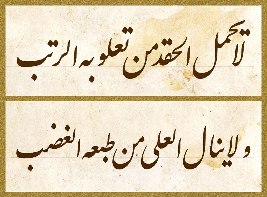 لا يح م ل الح ــــق د م ن ت ع ــــــل و ب ه الـــــر ت ب ولا يـــــــنال العــــلى من طبعـه الغــ Beautiful Arabic Words Arabic Love Quotes Poet Quotes
