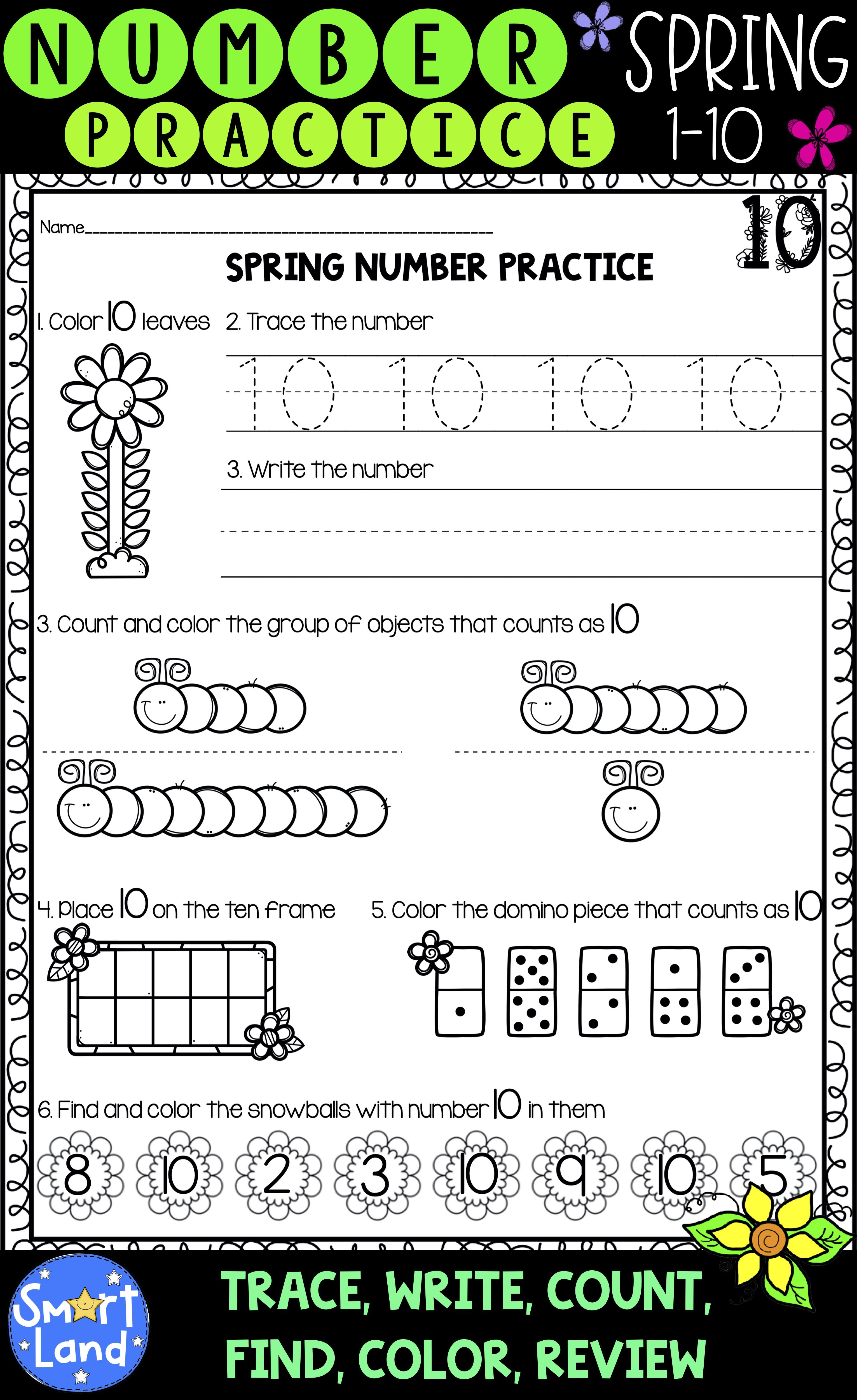 Number Practice 1 10 Spring Edition In With Images