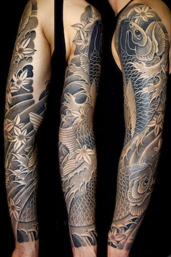 Black And Grey Koi Sleeve By Aaron Bell At Slave To The Needle In