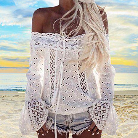 Hikong Camicetta Donna in Pizzo Fuori-spalla Maniche Lungo Svasato Maglietta Floreale Uncinetto Camicia Allentato Tops T-shirt Sexy: Amazon.it: Abbigliamento