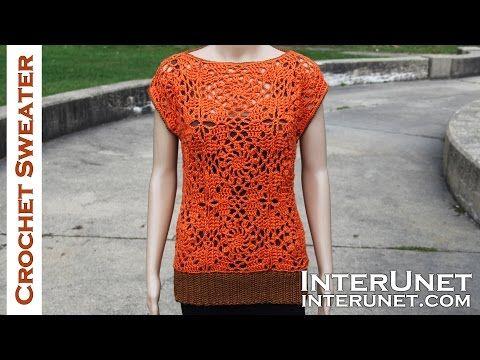 Crochet sleeveless lace sweater - motifs stitch