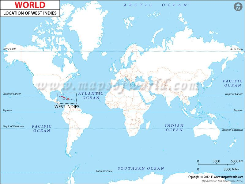 where is west indies in world map