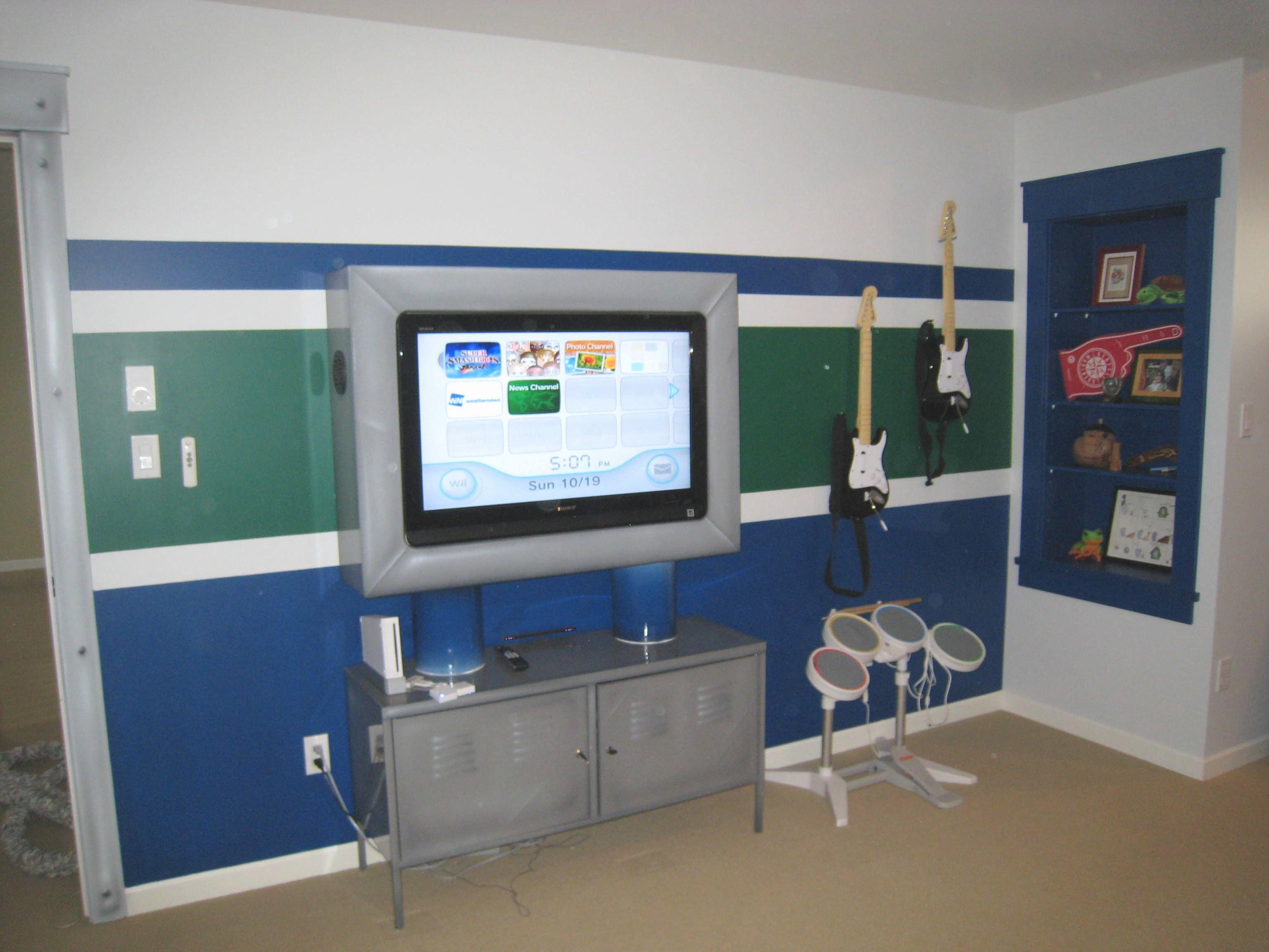 Kids Bedroom Tv custom tv unit with a canucks inspired bedroom paint. #canucks