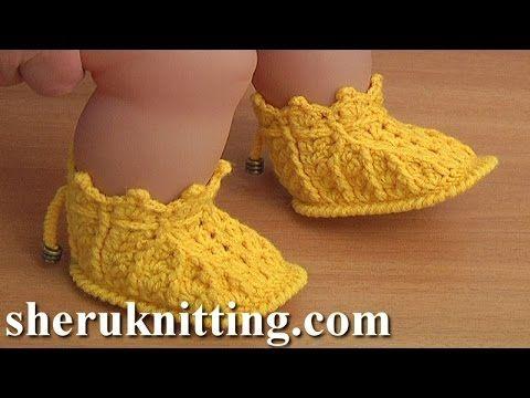 Crochet Baby Booties Patterns Tutorial 44 Part 1 of 2 Crochet ...