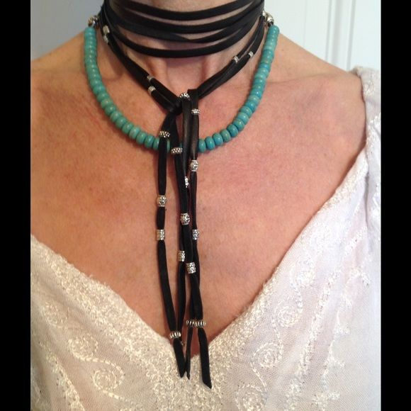 """Leather turquoise silver bead boho wrap/necklace Emma Caine 100% authentic turquoise and silver beaded wrap necklace.    74"""" long designed to wear in several ways.   Color is black genuine deerskin leather.    Make an impact with this hip necklace.  This price is very close to what I am asking.   Please do not offer less than $35 Free People Jewelry Necklaces"""